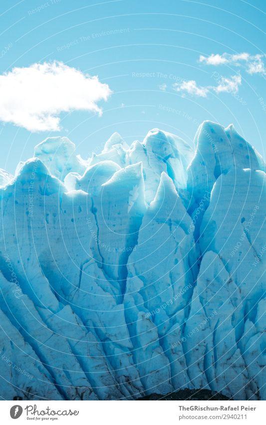 Perito Moreno Gletscher Natur Landschaft blau weiß Wolken Eis Schnee Riss Strukturen & Formen Spitze dreckig brechen Sonnenlicht Himmel Farbfoto Außenaufnahme