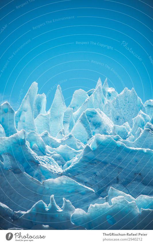 Eisskulptur Umwelt Natur blau weiß Schnee Spitze Strukturen & Formen Farbe Riss Schatten Licht Perito Morena Gletscher Farbfoto Außenaufnahme Menschenleer