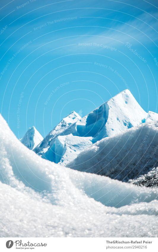 Gletscher Umwelt Natur blau weiß Berge u. Gebirge Gipfel Perito Moreno Gletscher Eisskulptur Schnee Eisberg Gletscherwanderung Argentinien Farbfoto