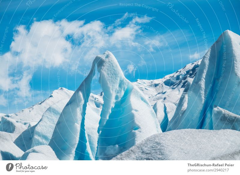 Gletscher Skulpturen Natur Landschaft blau türkis weiß Eis Schnee Eisskulptur Perito Moreno Gletscher Wolken Argentinien Farbfoto Außenaufnahme Menschenleer