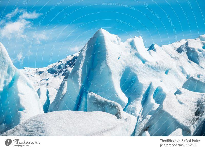 Gletscher-Türme Umwelt Natur blau türkis weiß dreckig kalt Eis Glätte Schneeberg Eisberg fest Wolken Perito Moreno Gletscher Gletscherwanderung Farbfoto