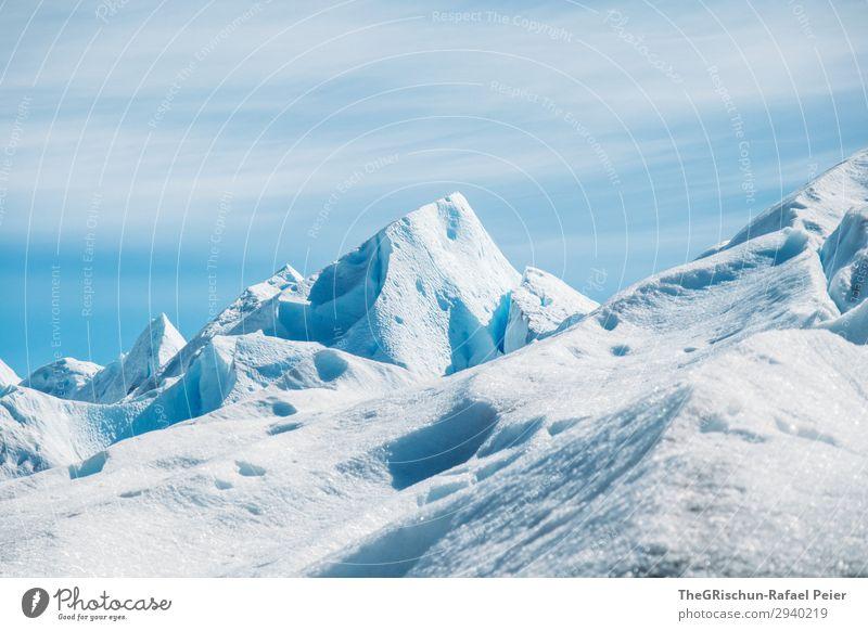 Gletscherberge Natur blau weiß Perito Moreno Gletscher Schnee Spitze Licht Schatten Kontrast wandern Argentinien Abenteuer Eis hart beeindruckend Farbfoto