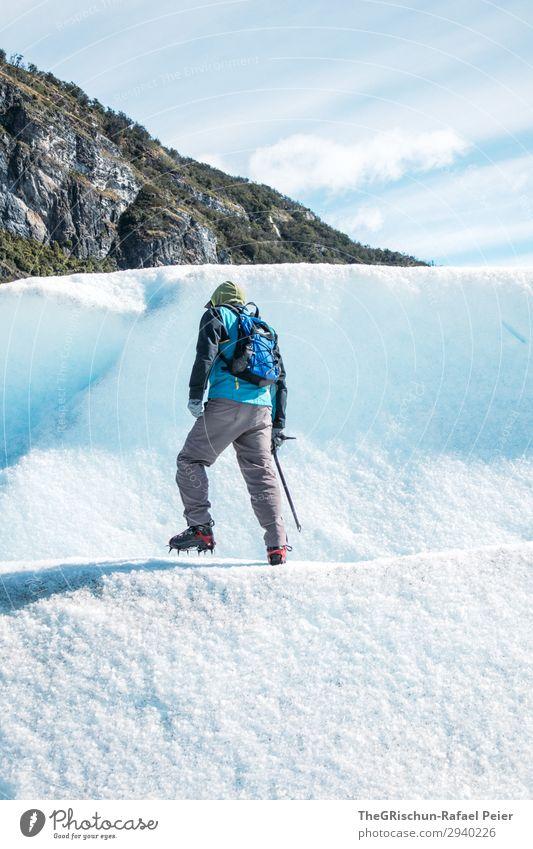 Gletscherwanderung - Perito Moreno Natur blau türkis weiß Mann laufen Eispickel Rucksack wandern Schnee Berge u. Gebirge Steigeisen Perito Moreno Gletscher