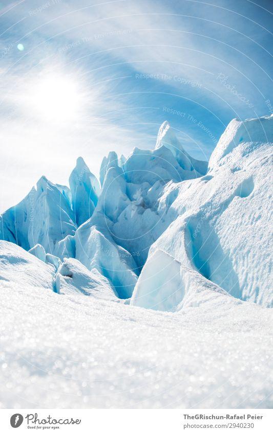 Gletscher-Skulpturen Natur blau türkis weiß Schnee Eis Kontrast Licht Schatten Wolken Perito Moreno Gletscher Argentinien el calafate Farbfoto Außenaufnahme