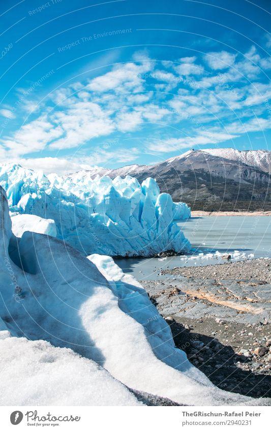 Perito Moreno Gletscher Umwelt Natur Landschaft blau weiß Küste See Eisberg Argentinien laufen entdecken Schnee Berge u. Gebirge Eisskulptur Farbfoto