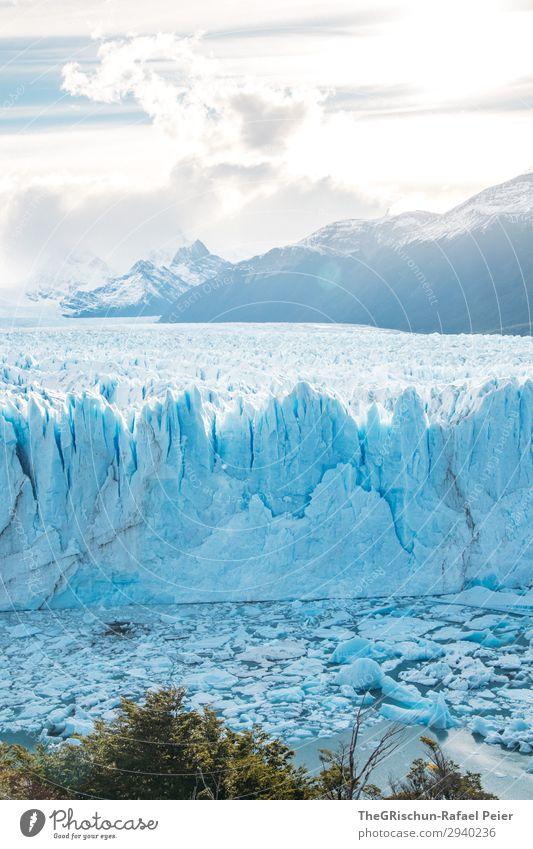 Perito Moreno Gletscher Natur blau türkis weiß Schatten Licht Gegenlicht Sonnenuntergang Eis Schnee Eisscholle brechen Riss Berge u. Gebirge Argentinien