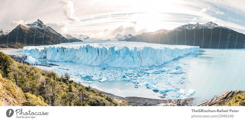 Perito Moreno Gletscher - Sunset Natur Landschaft blau türkis weiß Sonnenuntergang Berge u. Gebirge Eisscholle Schnee Gegenlicht Baum Stimmung