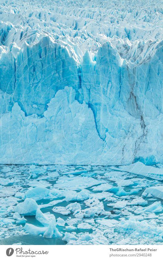 Perito Moreno Gletscher Natur blau türkis weiß Eisscholle Riss Spitze Strukturen & Formen Wasser Im Wasser treiben abbrechen kalbern Patagonien Farbfoto