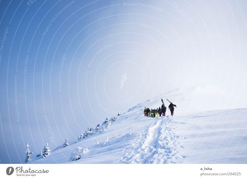 walk away Lifestyle Sport Wintersport Sportler Skier Mensch Menschengruppe Umwelt Natur Landschaft Urelemente Himmel Wolken Schönes Wetter Nebel Eis Frost