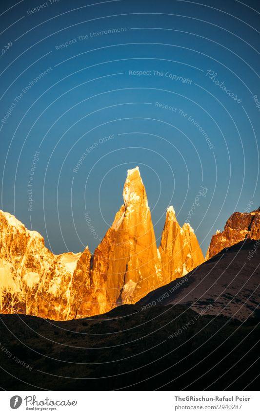 Cerro Torre - Sonnenaufgang Natur Landschaft blau braun gelb gold schwarz Argentinien El Chaltén Sonnenlicht niedlich Schatten Silhouette Patagonien Schnee