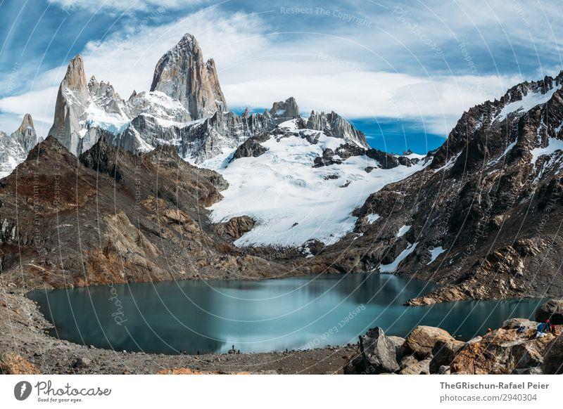 Fitz Roy - Laguna de los tres Natur Landschaft blau türkis weiß Wasser Stein Berge u. Gebirge Argentinien Patagonien wandern Gletscher Klettern geschätzt