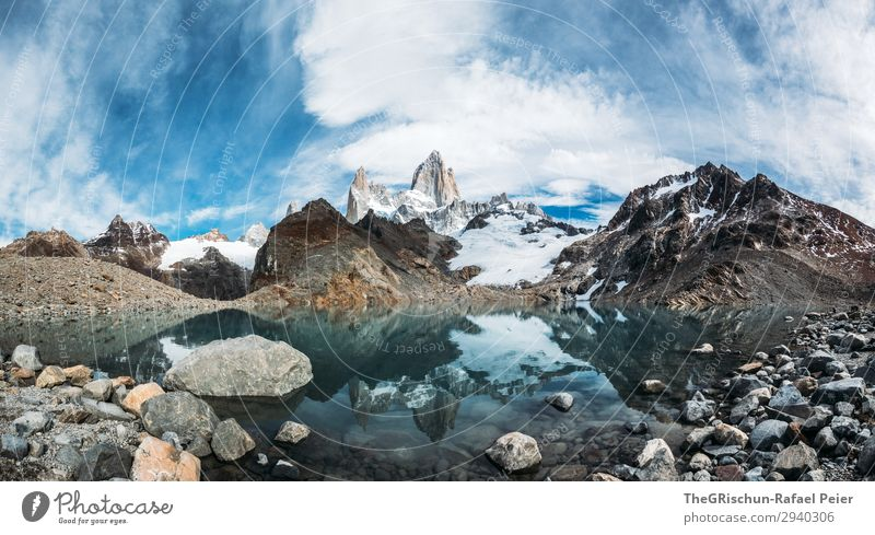 Fitz Roy - Laguna de los tres Natur blau türkis weiß laguna de los tres Lagune Stein Reflexion & Spiegelung Panorama (Bildformat) Panorama (Aussicht)
