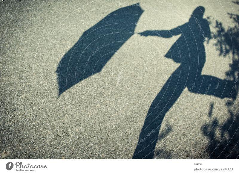 Schatten | Rainman Mensch 1 Umwelt Wetter Schönes Wetter Verkehrswege Fußgänger Straße Wege & Pfade Regenschirm Bewegung laufen lustig grau Schattenspiel Humor