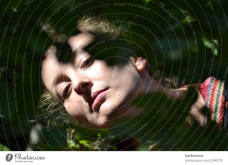Schatten   Tagträume Frau Erwachsene Kopf 1 Mensch 18-30 Jahre Jugendliche Natur Pflanze Gras Sträucher Blatt leuchten liegen träumen dunkel hell feminin