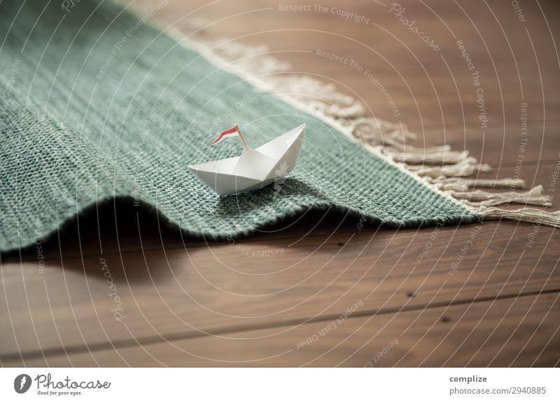 Papierschiff auf Teppich-Wellen Gesundheit Freizeit & Hobby Spielen Basteln Modellbau Ferien & Urlaub & Reisen Ausflug Abenteuer Ferne Kreuzfahrt Sommerurlaub