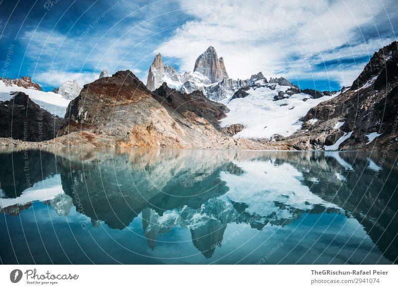 Fitz Roy - Laguna de los tres Natur blau türkis weiß Stein Felsen Berge u. Gebirge Reflexion & Spiegelung See Gebirgssee Himmel Wolken laguna de los tres