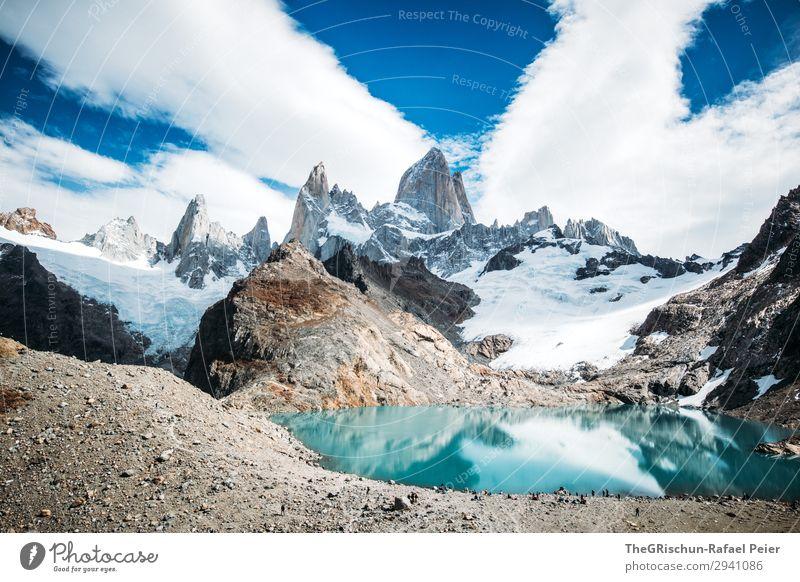 Fitz Roy - Laguna de los tres Natur Landschaft blau grau schwarz türkis weiß See Gebirgssee Berge u. Gebirge laguna de los tres Lagune Gipfel Sonne