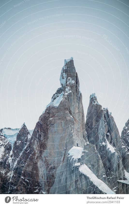 cerro torre - el chaltén Natur grau weiß Cerro Torre Berge u. Gebirge Felswand Klettern Eis Schnee Stein Riss Strukturen & Formen Argentinien Wahrzeichen