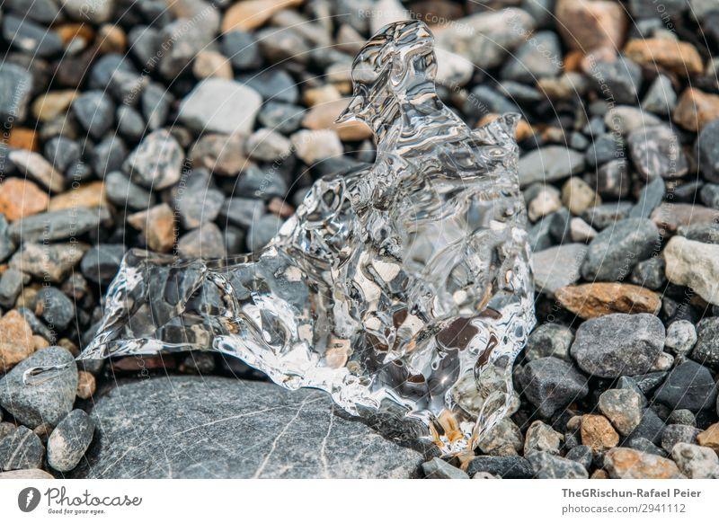 durchsichtig Natur grau schwarz weiß Eis Strukturen & Formen Stein schmelzen Wasser Eisblock Reflexion & Spiegelung Farbfoto Außenaufnahme Menschenleer