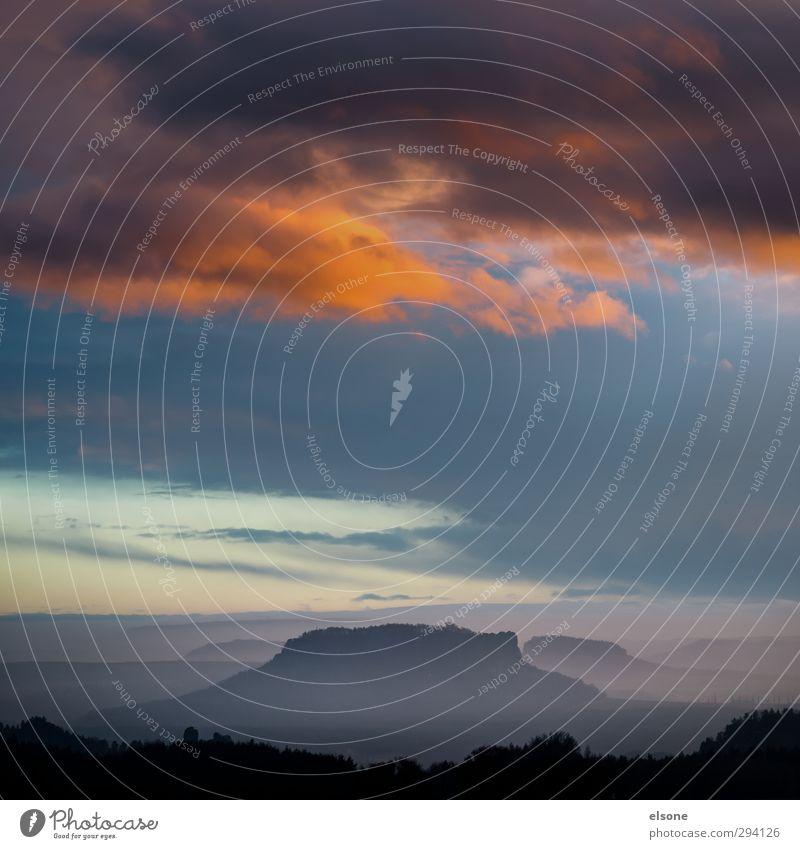 LILIENSTEIN Natur Landschaft Himmel Wolken Nebel Hügel Berge u. Gebirge Elbsandsteingebirge ruhig Sächsischen Schweiz Sachsen Sächsische Schweiz Tafelberg