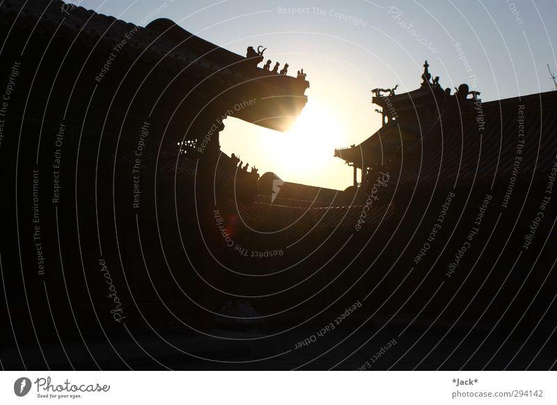 Verbotene Stadt Sonne Winter Schönes Wetter Stein Holz Zeichen Kultur China Drache Peking Dach Sonnenstrahlen Außenaufnahme Kontrast Sonnenlicht Gegenlicht