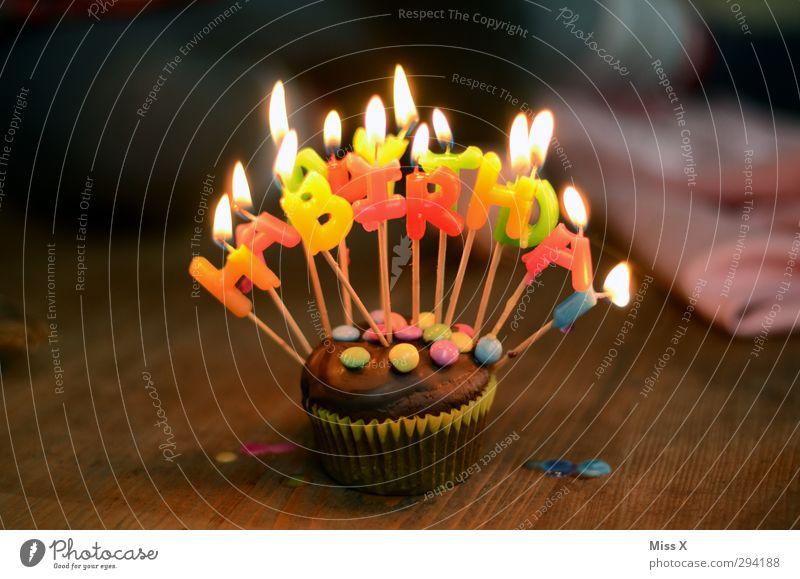 Mottoparty Spacejunkie? Lebensmittel Kuchen Süßwaren Schokolade Ernährung Kaffeetrinken leuchten lecker süß mehrfarbig Muffin Geburtstag Happy Birthday Kerze