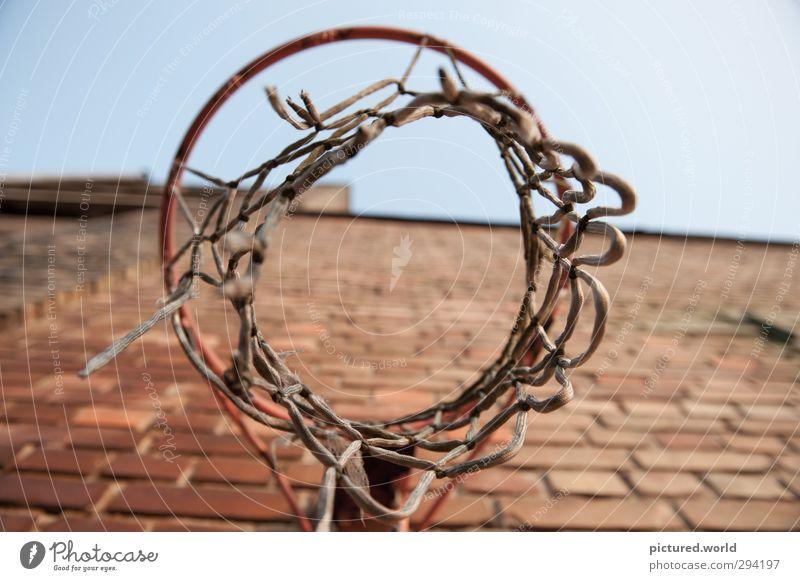 Vergissmeinnicht Sport Ballsport Basketball Basketballkorb Industrieanlage alt oben trashig Stadt braun rot Verfall Vergangenheit Vergänglichkeit Farbfoto