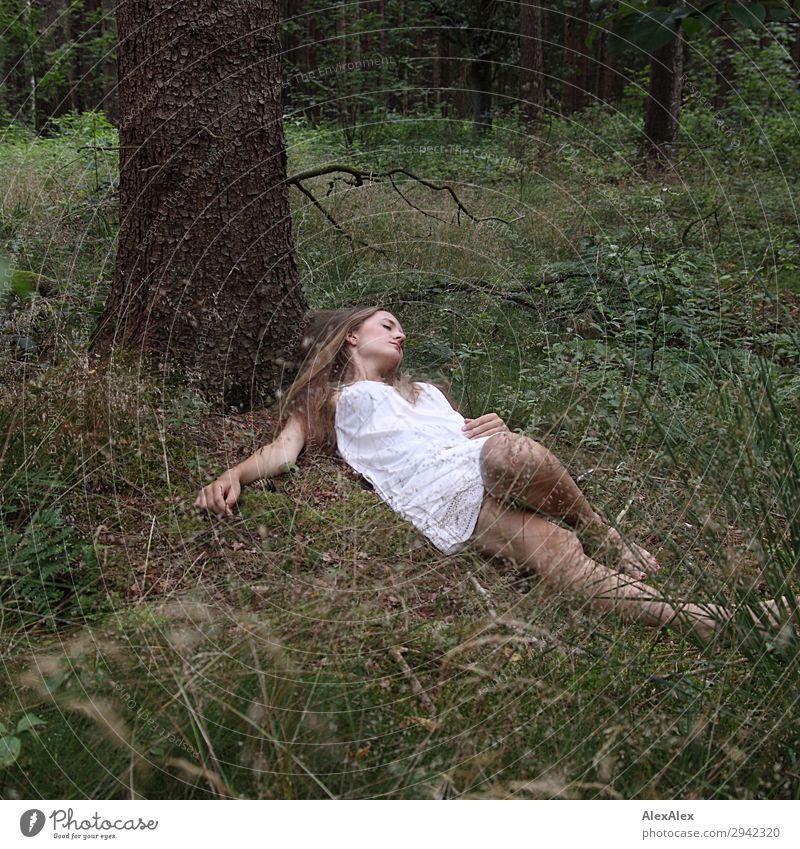 Portrait einer jungen Frau im Wald Freude schön Erholung ruhig Junge Frau Jugendliche 18-30 Jahre Erwachsene Natur Pflanze Schönes Wetter Baum Sträucher Moos