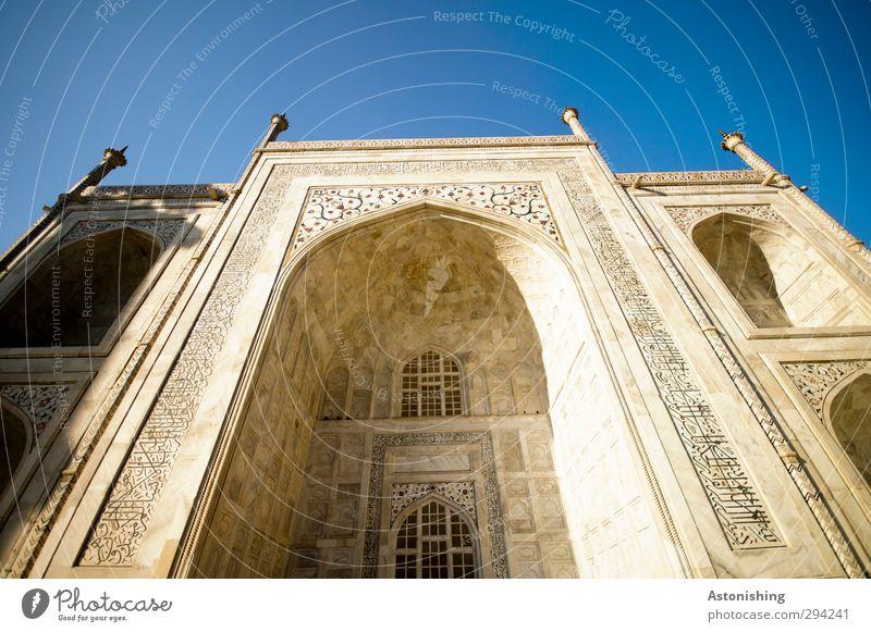 TAJ III Himmel Wolkenloser Himmel Wetter Schönes Wetter Wärme Agra Indien Asien Palast Turm Tor Bauwerk Gebäude Architektur Mauer Wand Fassade Fenster
