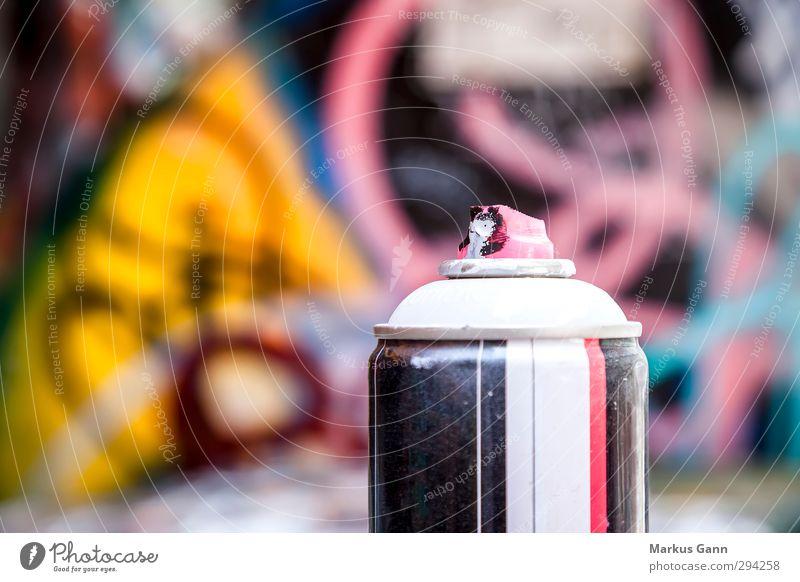 Spraydose Graffiti weiß schwarz gelb Wand Farbstoff Mauer grau Kunst rosa Lifestyle Design Coolness Bild Lack