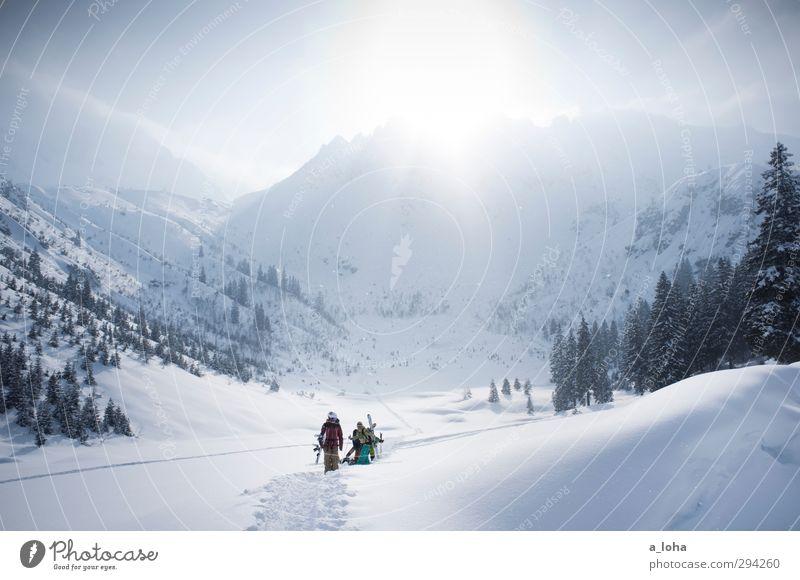 what you want Lifestyle Sport Wintersport Skier Snowboard Menschengruppe Umwelt Natur Landschaft Urelemente Himmel Wolken Sonne Sonnenlicht Schönes Wetter