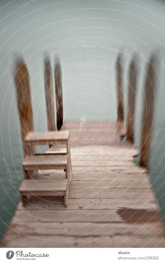 Steg mit Treppchen Ferien & Urlaub & Reisen Wasser Meer Umwelt Holz Wetter Treppe Nebel Insel Tourismus Hafen Schifffahrt Anlegestelle Holzbrett Leiter
