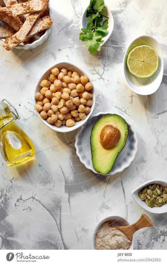 Avocado Hummus, Rezeptzutaten Gemüse Ernährung Essen Mittagessen Abendessen Bioprodukte Vegetarische Ernährung Diät Fasten Sommer frisch grün Zutaten