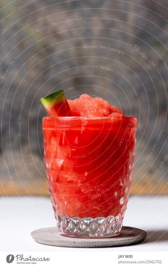 Gefrorene Wassermelone Daiquiri Lebensmittel Frucht Ernährung Erfrischungsgetränk Saft Alkohol Sommer rot weiß daiquiri Cocktail gefroren Rum heimwärts trinken