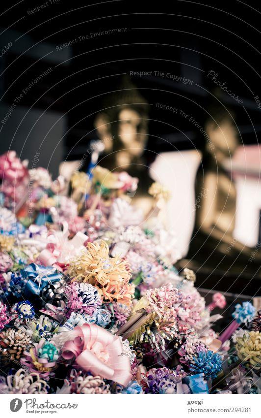 Eye Candy Metall Kunststoff Dekoration & Verzierung Farbe Buddha Buddhismus Buddha Statue Opfergaben Tempel Farbfoto mehrfarbig Außenaufnahme Menschenleer