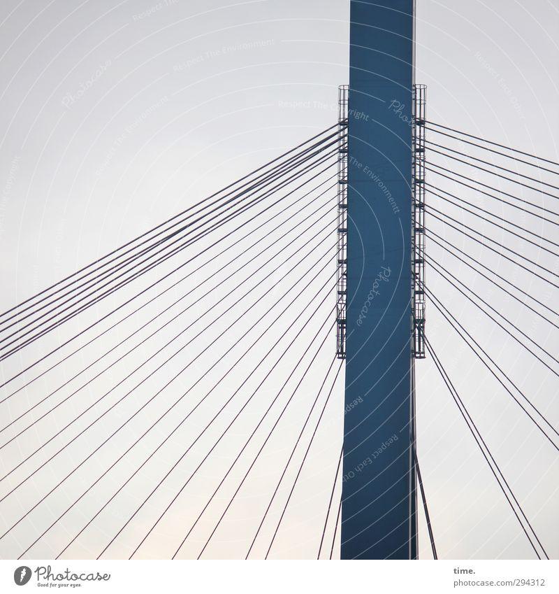 in luftiger Höhe Stahlkabel nur Himmel Hafenstadt Brücke Bauwerk Gebäude Architektur Brückenpfeiler Köhlbrandbrücke Verkehr Verkehrswege Hochstraße Schifffahrt