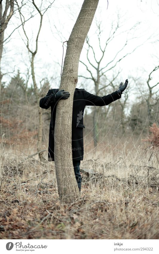 Ode an die Natur Freude Freizeit & Hobby Ausflug Mann Erwachsene Leben Körper Arme Hand 1 Mensch Umwelt Herbst Baum Baumstamm Mantel Handschuhe festhalten