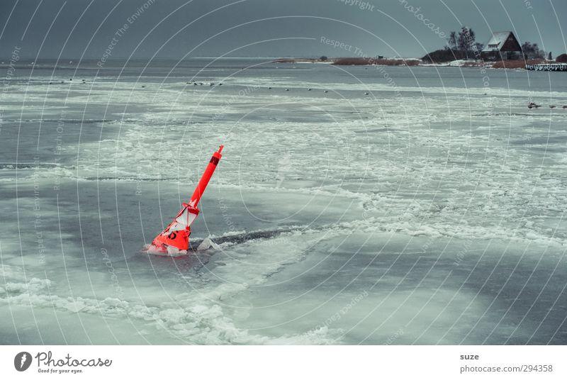Eispickel Meer Haus Umwelt Natur Urelemente Wasser Horizont Winter Klima Wetter Frost Küste Ostsee Schifffahrt kalt blau grau orange gefroren Eisfläche