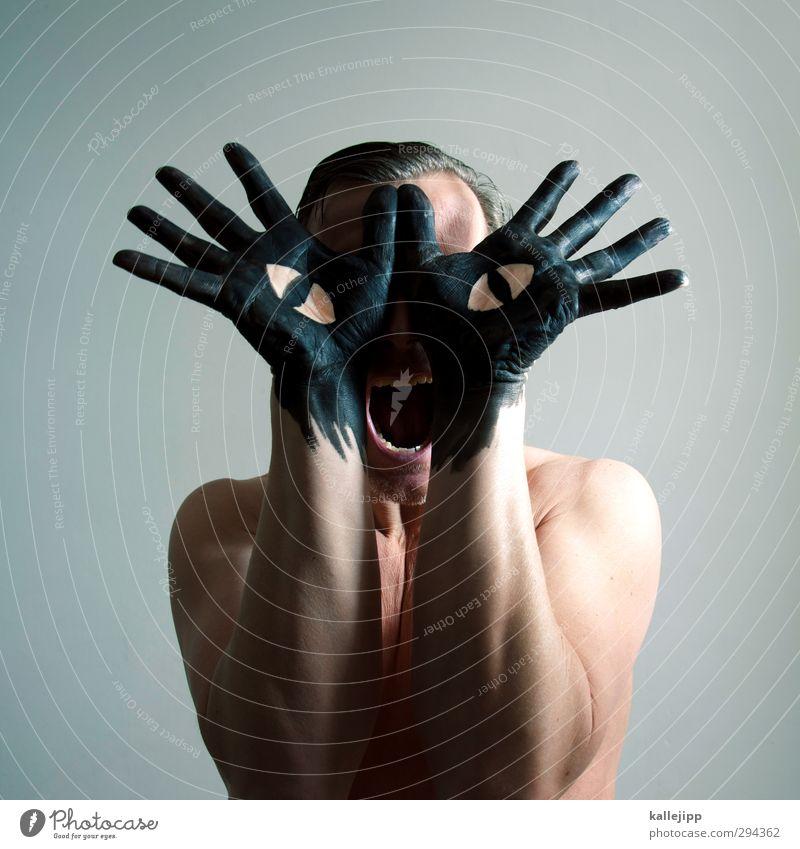 schwarzer kater Katze Mensch Mann Hand Farbe Tier schwarz Erwachsene Auge Kopf Kunst maskulin Arme Finger Kreativität Kultur