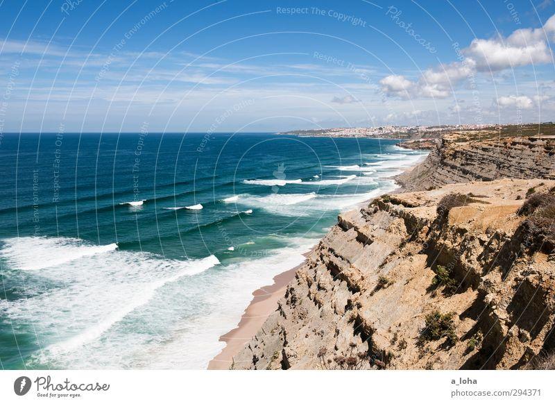 closer to the edge Umwelt Natur Landschaft Urelemente Wasser Himmel Wolken Horizont Sommer Schönes Wetter Wärme Dürre Felsen Wellen Küste Strand Bucht Meer
