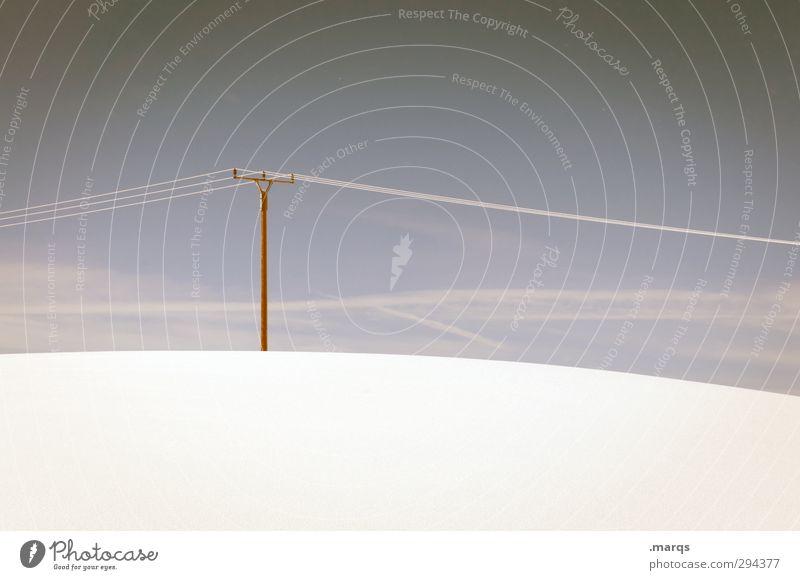 Lange Leitung Energiewirtschaft Umwelt Natur Landschaft Himmel Winter Klima Wetter Schönes Wetter Eis Frost Schnee Zeichen Strommast Hochspannungsleitung kalt