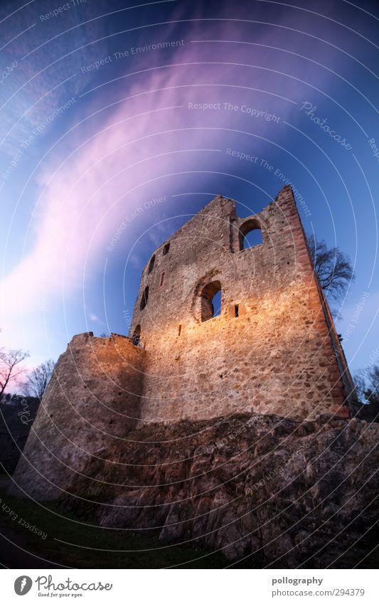 long time ago Natur Himmel Wolken Schönes Wetter Baum Hügel Felsen Freiburg im Breisgau Burg oder Schloss Ruine Mauer Wand Fassade Fenster Abenteuer
