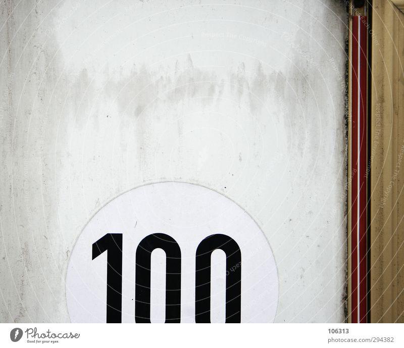 100 steps forward Ziffern & Zahlen Schilder & Markierungen Hinweisschild Warnschild Geschwindigkeit stagnierend Wert einhundert Inhaltsangabe Richtwert nummer