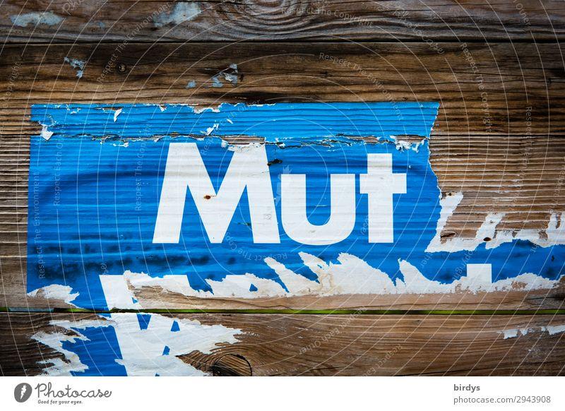 ...tut gut Holzwand Schriftzeichen Plakat kämpfen machen authentisch einzigartig positiv rebellisch blau braun weiß Begeisterung Kraft Mut Verantwortung Leben