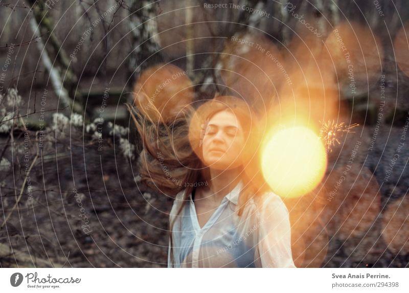 frau zauber. feminin Junge Frau Jugendliche Haare & Frisuren Gesicht 1 Mensch 18-30 Jahre Erwachsene Umwelt Natur Herbst schlechtes Wetter Baum Mode brünett