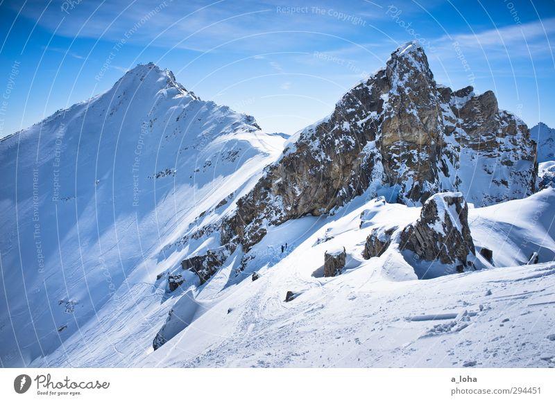 you and your heart Lifestyle Wintersport Skier Umwelt Natur Landschaft Urelemente Himmel Wolken Sonnenlicht Schönes Wetter Eis Frost Schnee Felsen Alpen