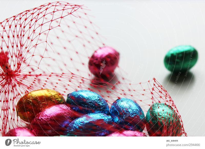 Eierei Süßwaren Schokolade Essen Dekoration & Verzierung Feste & Feiern Ostern Kindheit Verpackung Metall Netzwerk glänzend genießen ästhetisch Fröhlichkeit
