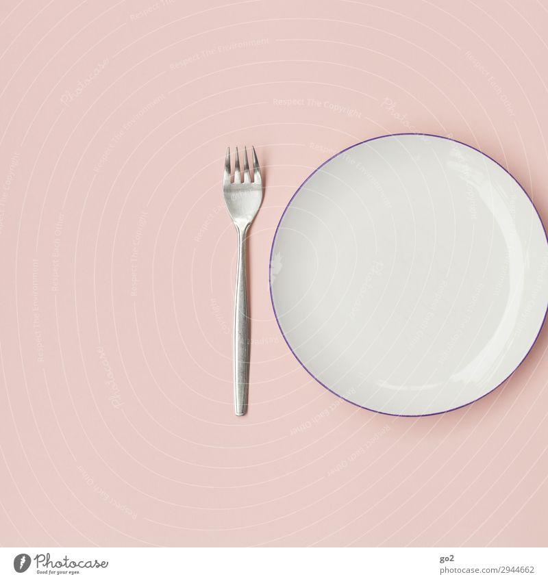 Leerer Teller mit Gabel Ernährung Mittagessen Abendessen Geschirr Besteck ästhetisch Sauberkeit rosa Ordnungsliebe bescheiden sparsam Armut leer Farbfoto