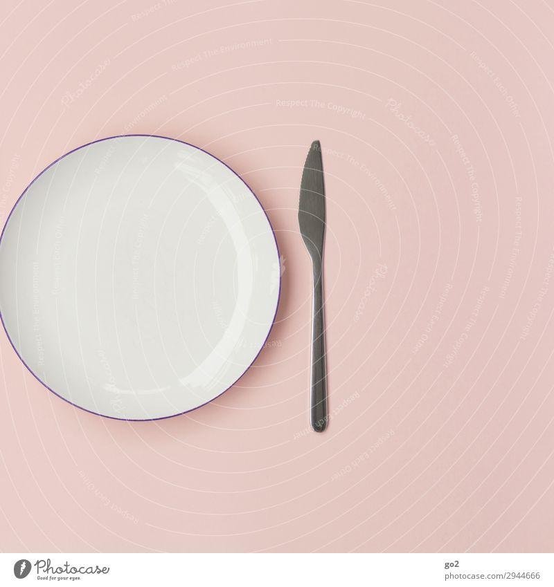 Teller und Messer Ernährung Diät Fasten Geschirr Besteck Gesunde Ernährung Metall ästhetisch rosa weiß diszipliniert Ordnungsliebe Reinlichkeit Sauberkeit