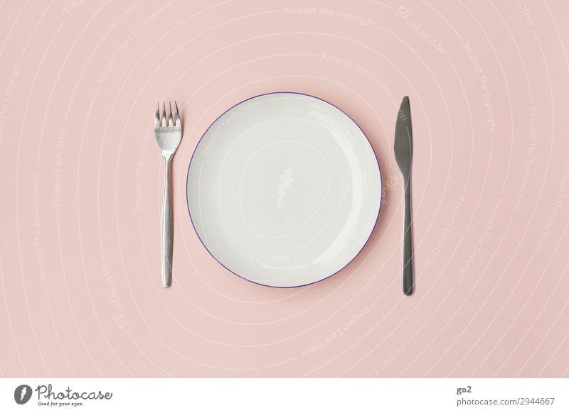 Gabel, Teller, Messer Ernährung Mittagessen Abendessen Diät Fasten Geschirr Besteck Gesunde Ernährung ästhetisch rosa Ordnungsliebe bescheiden zurückhalten